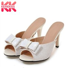 KemeKiss Sexy Lady High Heel Sandals Bowknot Glitter Summer Vacation Party Shoes Thin Hee Slipper Women Footwear Size 32-43(China)