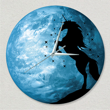 Round Fluorescent Unicorn Wall Clock