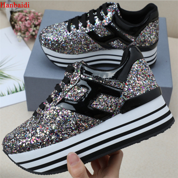 Shiny Glitter Silver Multi Platform Oxford Women Shoes Lace Up High Heels Top High Quality Leather Casual Shoes Sneaker Woman 40
