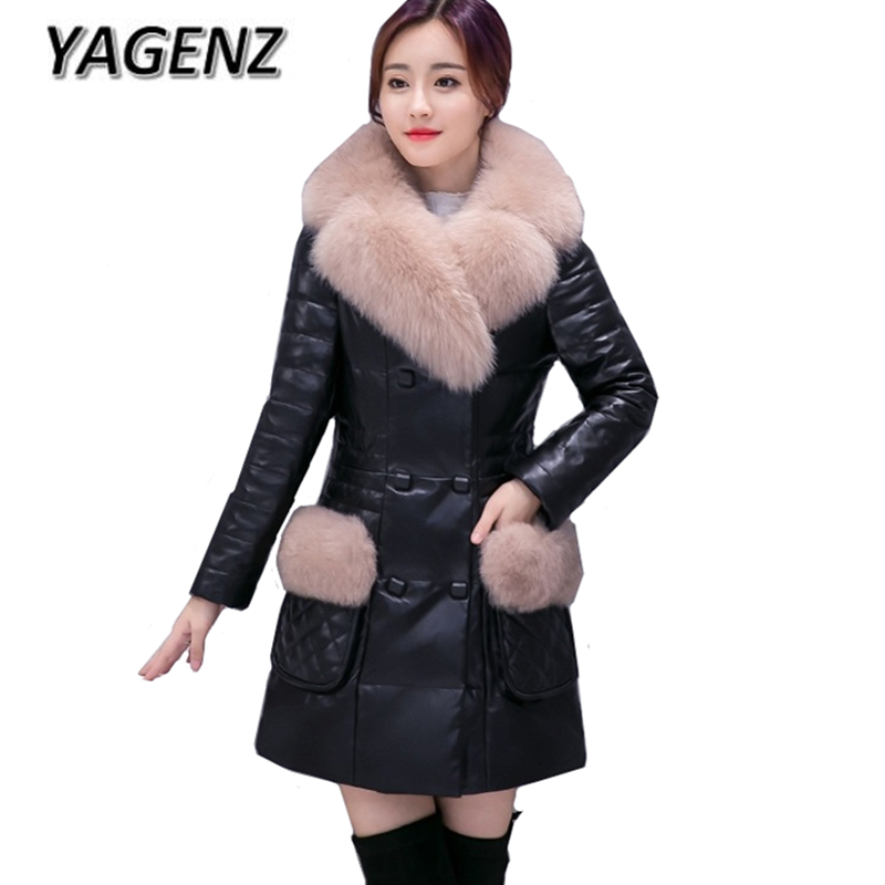2018 Fashion Winter PU Leather Jacket Warm Women Cotton Coats High-grade Slim Women Down Big fur collar Outerwear Casual Jackets high grade big fur collar down cotton winter jacket women hooded coats slim mrs parkas thick long overcoat 2017 casual jackets