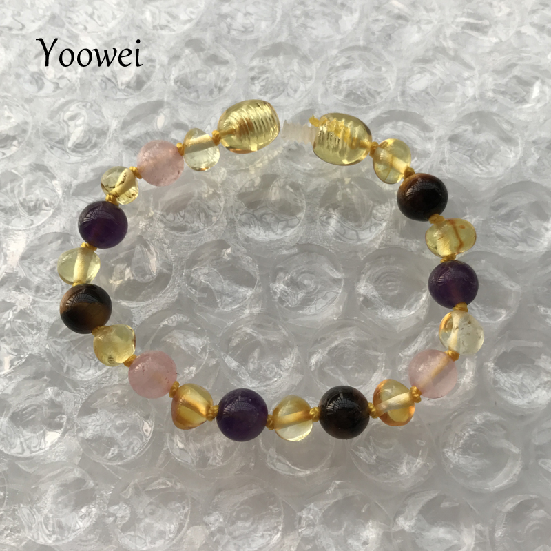 HTB14w0 fSfD8KJjSszhq6zIJFXa3 Yoowei 9 Color Baby Amber Bracelet/Necklace Natural Amethyst Gems Adult Baby Teething Necklace Baltic Amber Jewelry Wholesale