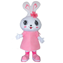 Hot selling 2017 style garment  Big head pink rabbit Mascot Costumes cartoon doll animals free shipping женская рубашка big pink cloth doll d15ats007 2015