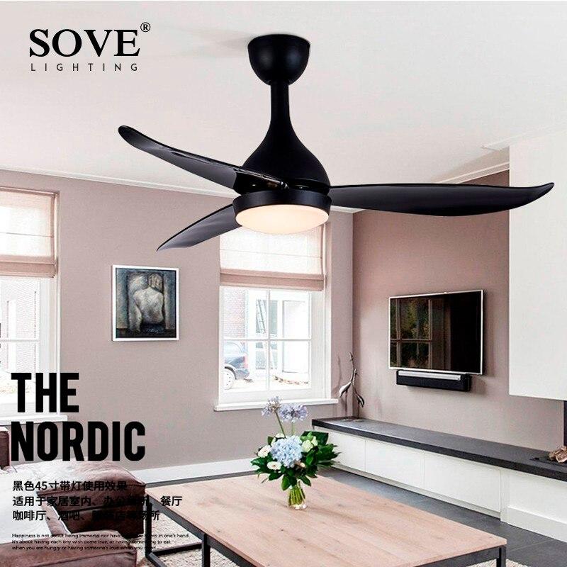 SOVE современный светодиодный потолочный вентилятор с подсветкой спальня домашний черный потолочный светильник вентилятор лампа 220 вольт ве...