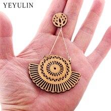 Retro Bohemian Wooden Round Sector Personalited Hollow Fan shaped Long Earring For Women Girl Ear Jewelry
