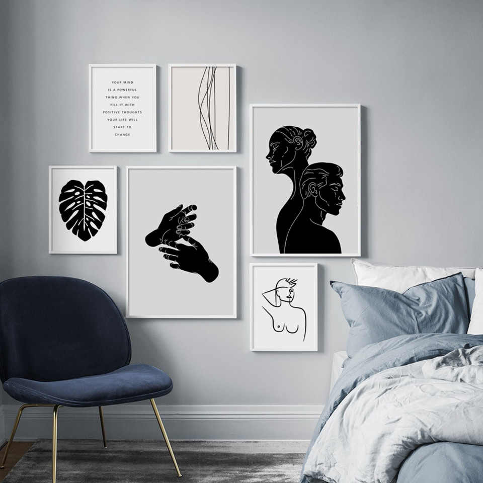 Canvas Print Picture Wall Art Abstract Fashion Style Woman Line Face Nordic Poster Home Decoration Module Bedside Background