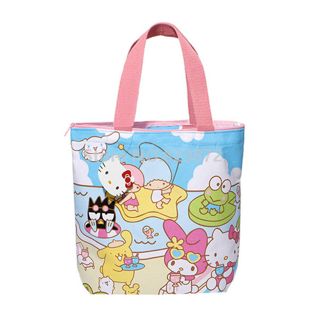 c9c6e49169ee Cute Hello Kitty My Melody Little Twin Stars Kids Canvas Lunch Box Bag for School  Girls