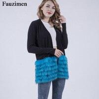 Бесплатная доставка свитера женские из меха енота кашемировый свитер из меха лисы длинный кардиган свитер