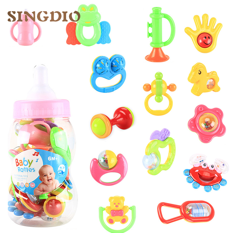 14Pcs/set Baby safe Rattles Infant mobiles musical Hand Shake Bell Ring Toy Teether Product Educational Christmas Gifts for kids