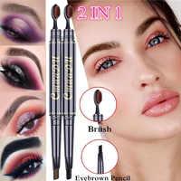 2 in 1 Augenbraue Bleistift Natürliche Lang Anhaltende Make-up Professional Augenbraue Stift Und Pinsel Wasserdicht Schwarz Braun augenbrauen Make-Up