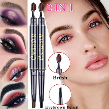 2 in 1 Eyebrow Pencil Natural Long Lasting Make-up Professional Eye Brow Pen And Brush Waterproof Black Brown Eyebrows Makeup