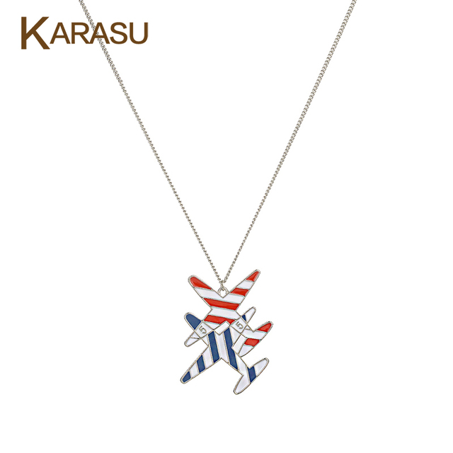 Fashion Silver Plated Double Stripe Aircraft Drop Oil Statement Pendant Link Chain Long Necklace for Women Jewelry Gifts