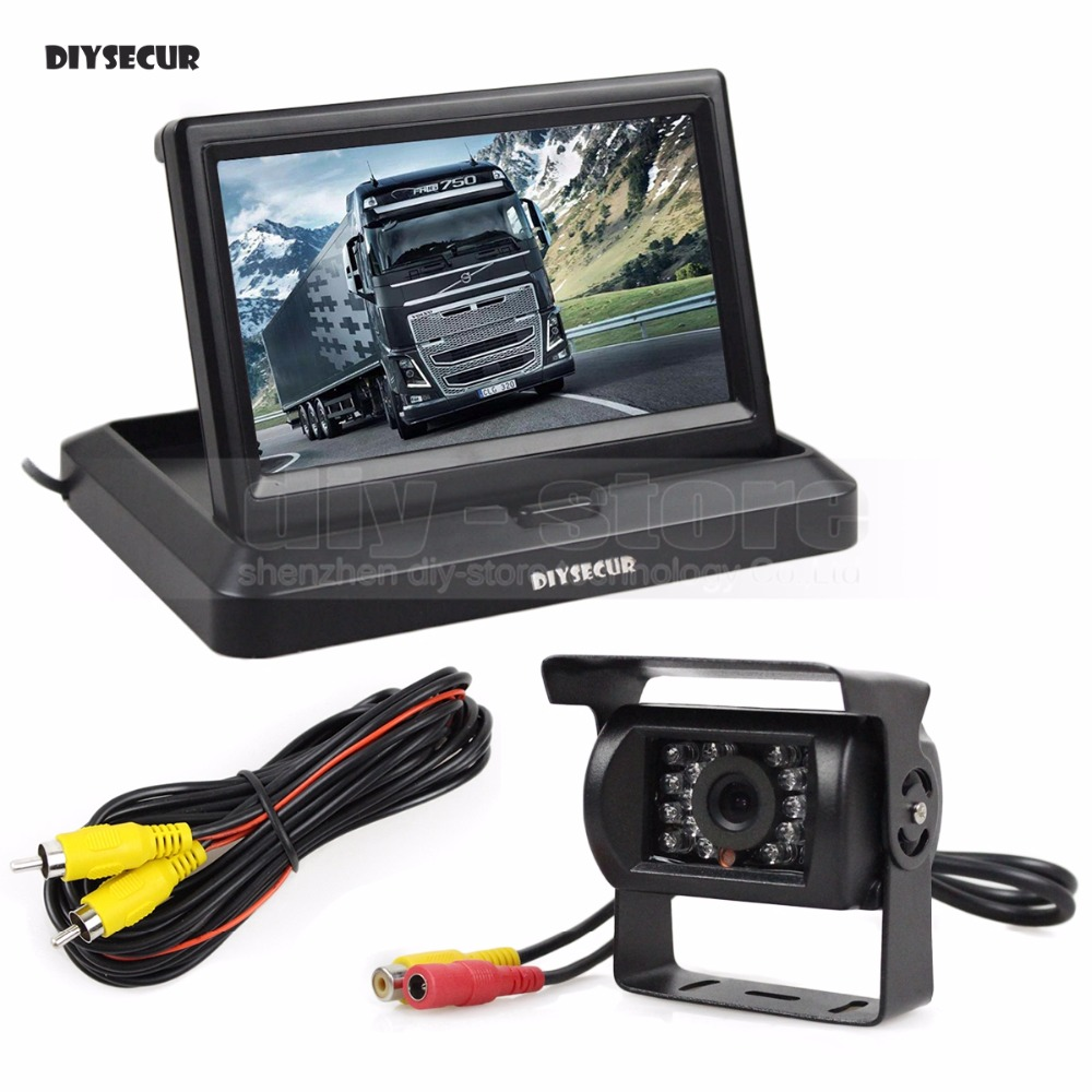DIYSECUR Wired 5 inch Foldable TFT LCD Monitor Waterproof IR Night Vision CCD Rear View Car Camera for Truck Caravan Bus Van