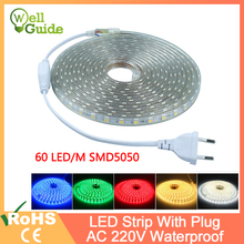 led strip 1M~25M EVO SMD5050 AC220V IP65 LED Strip Flexible Light 60leds/m Waterproof Led Tape LED Light With Power EU Plug стоимость