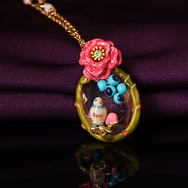 2016 New Enamel Glaze Crafts Rose Blue Tit Clavicle Chain Gold Plated Necklace Women Charm Jewelry Valentine's Day Gift
