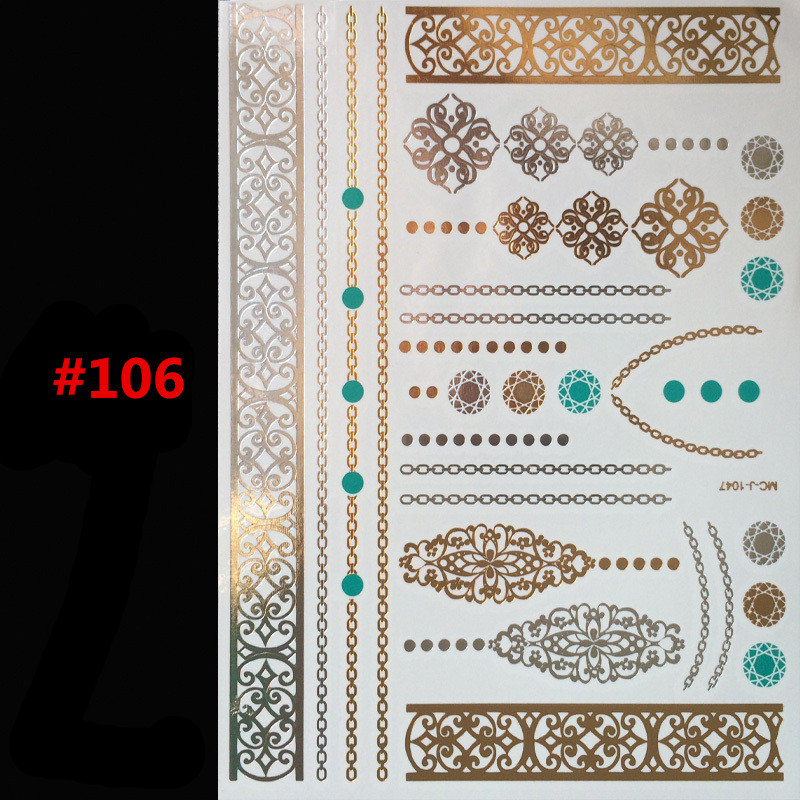 Free shipping body paint protection gold body tattoo art painting flash tattoos jewelry Arab India's large temporary tattoos