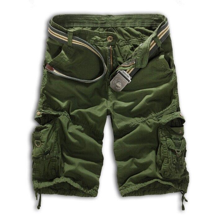 Мужские хлопковые шорты, новинка, мужские модные камуфляжные шорты Карго размера плюс, повседневные камуфляжные шорты с несколькими карманами в стиле милитари - Цвет: Армейский зеленый
