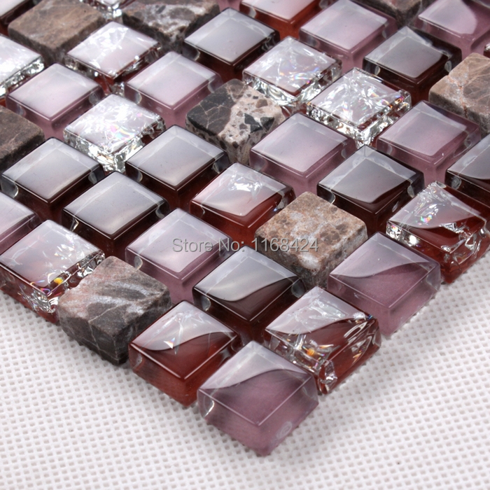 ice crackle crystal mosaic tiles purple color glass mosaic square for backsplash tile bathroom shower tile home improvement
