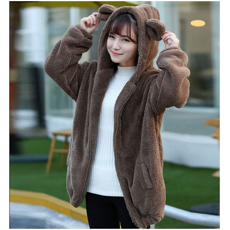 Women Warm Hoodies Outwear Girl Winter Loose Fluffy Bear Ear Long Sleeve Hooded Coat Solid Fashion Faux Fur