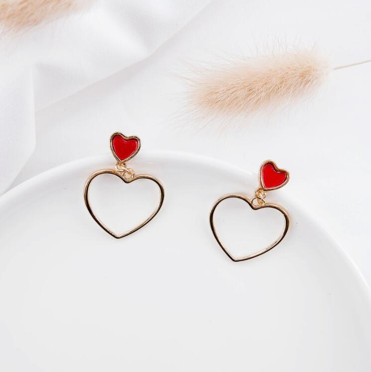 Woman For Earrings Fashion Silver Jewelry Girl Trend Gift Clasp Dangler Eardrop Pendant Simple Heart