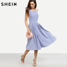 SHEIN Women New Arrival Sexy Midi Dresses 2016 Summer Blue Striped Square Neck Sleeveless Crisscross Back A Line Dress