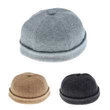 5 Colors Men Women Bonnet Skullcap Beanie Worker Sailorcap Rolled Cuff Retro Brimless Cap sheer panel rolled cuff shirt