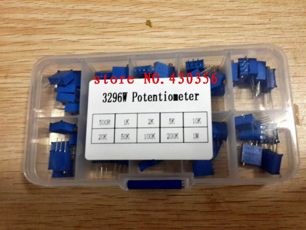 50Pcs/Lot 3296W Multiturn Trimmer Potentiometer Kit High Precision 3296 Variable Resistor 500R 1K 2K 5K 10K 20K 50K 100K 200K 1M