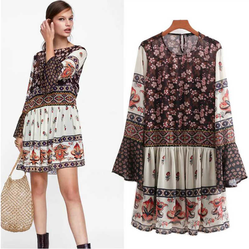 COZARII 2018 vestidos feminina dress england style splicing print floral o-neck hollow out patchwork mini dress vestido women