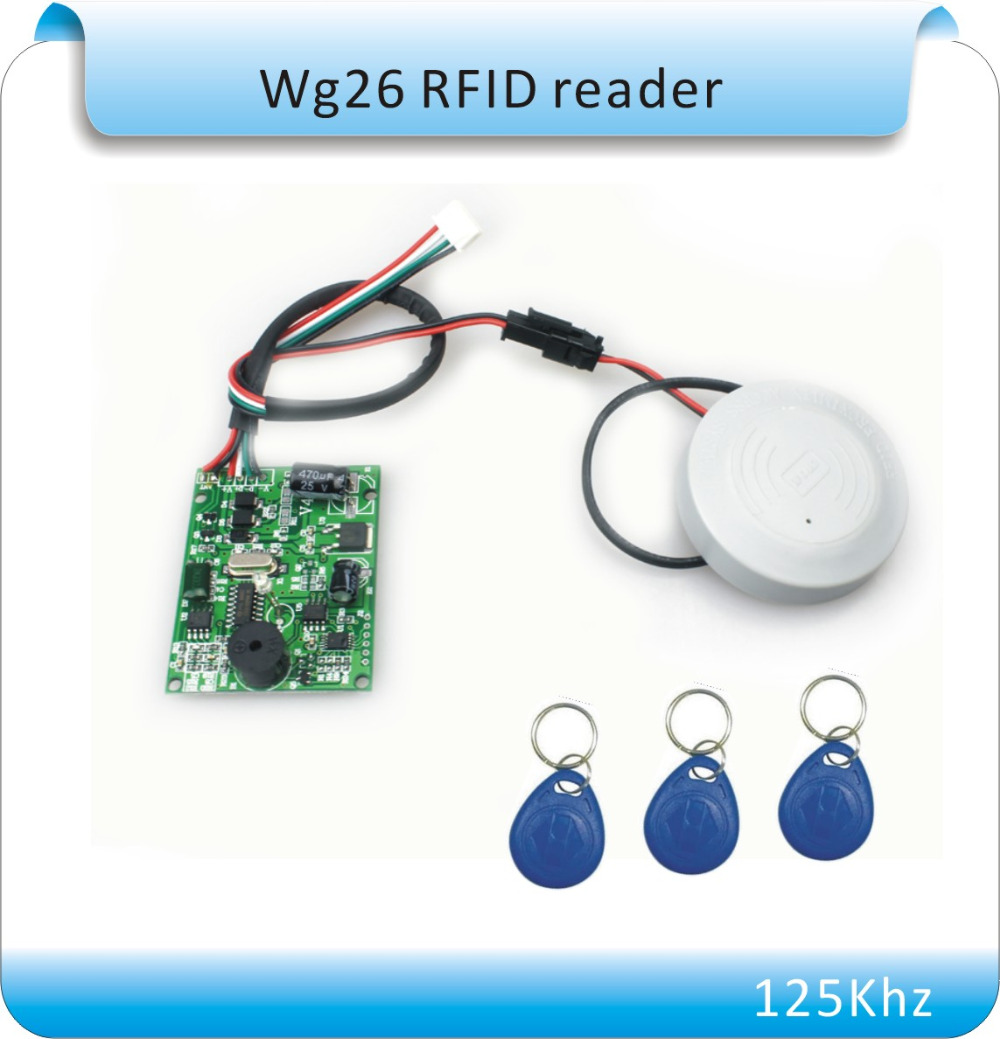 Free shipping 125Khz RFID Reader EM ID Card RFID Tag Reader WG26 Waterproof for Access Control System waterproof hot selling for rfid card reader access control system identification card reader with wg26 34 f1683