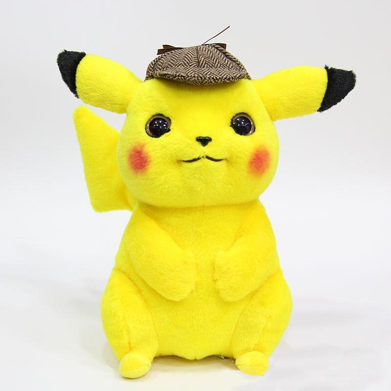 28cm Detective Cartoon Pikachu Plush Toy Cute Anime Smart Plush Toy Children's Gift Toy Fan Kid Cartoon Peluche Pikachu Doll