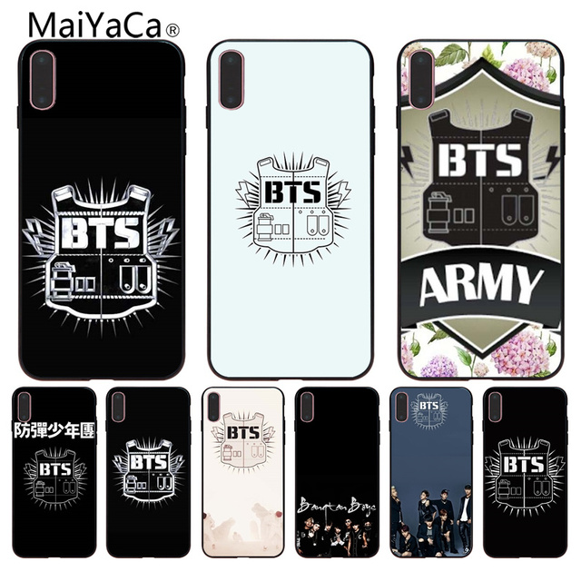 detailed look 0c755 f881b US $1.09 39% OFF|MaiYaCa BTS Bangtan Boys music logo cell phone case diy  For iphone X 8 8plus 7 7plus 6 6s Black Case cover-in Half-wrapped Case  from ...