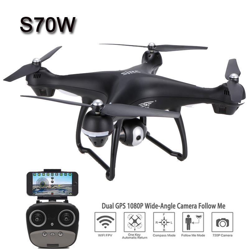 SJRC S70W RC Drone 1080P 720P WiFi FPV  Double GPS Module Altitude Hold  Follow Me Headless ModeSJRC S70W RC Drone 1080P 720P WiFi FPV  Double GPS Module Altitude Hold  Follow Me Headless Mode