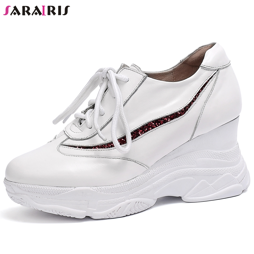 SARAIRIS New Fashion Hot Sale 2019 Large Size 33 42 INS Sneakers Shoes Woman Lace Up