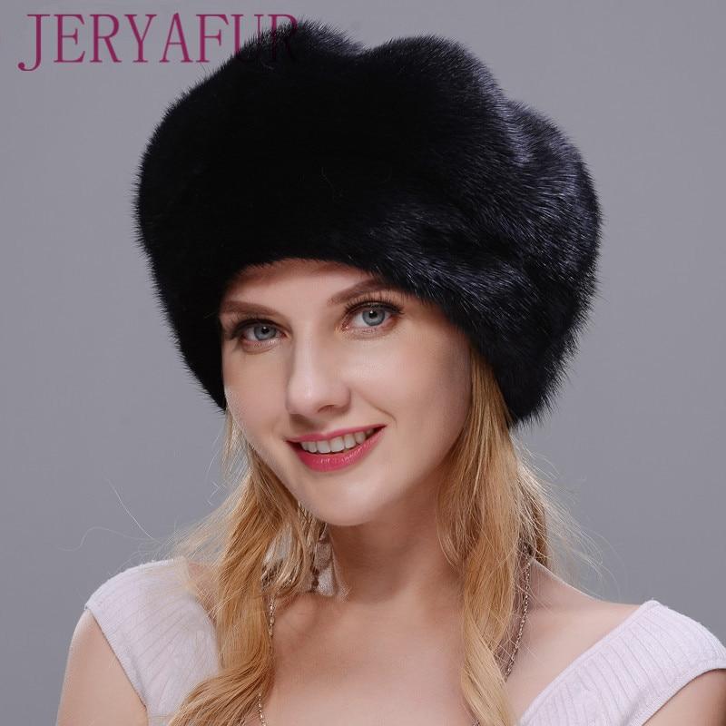 JERYAFUR 2018 русский шапка зимняя женская меховая шапка Стиль плащ реального норки шляпа черная женская зимняя шапка защитный ухо