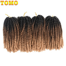 TOMO 8Inch Crochet Braids Ombre Spring Twist Hair Kanekalon Synthetic Hair Extensions Braids Kinky Curly Twists 30Roots(China)