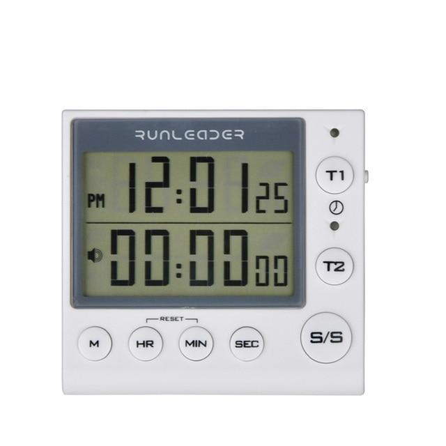 Timer de cozinha Temporizador de Contagem Regressiva Digital 2 Canal LED Piscando para o Laboratório Eletrônico Lição de Casa Cozinha Cozinhar Exercício Gym Workout