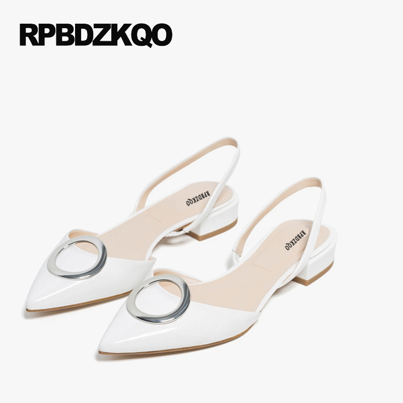 Slip On Casual 2017 Metal Slingback Flats Pointed Toe Embellished White Women Comfy Ladies Beautiful Shoes Patent Leather women ladies flats vintage pu leather loafers pointed toe silver metal design