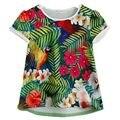 Los niños Ropa de La Muchacha T shirt Summer Popular personalizado Corto Manga de La Flor Naturaleza patrón camiseta 2017 Nueva Primavera camisetas Para chica
