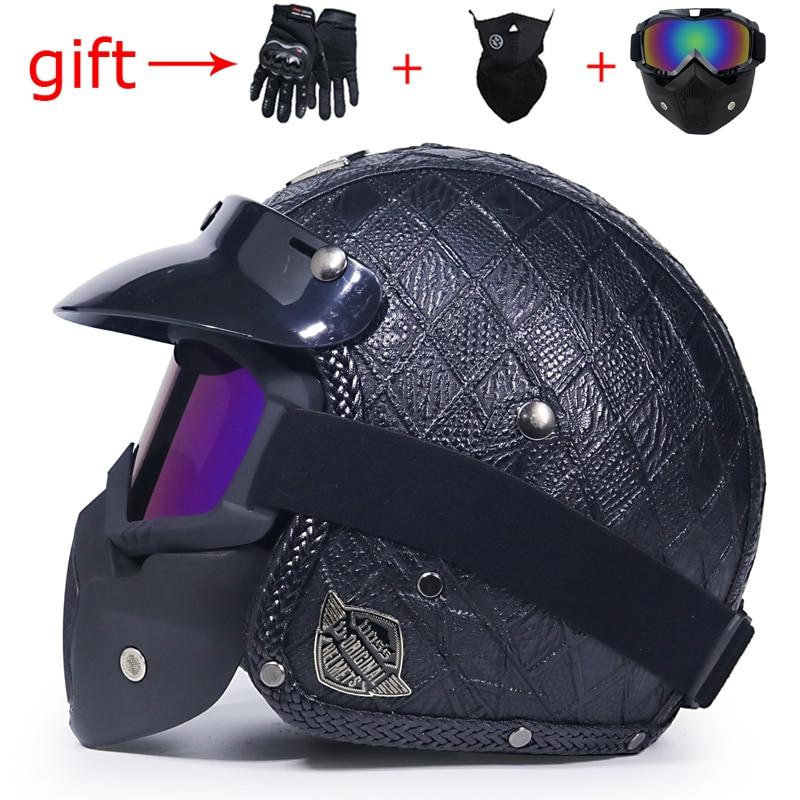 Free Shipping Latest VOSS Retro Motorcycle Helmet capacetesPU Leather Open Face 3/4 Chopper Bicycle Helmet DOT jet helmet