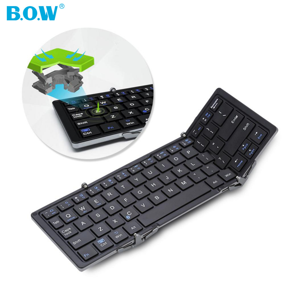 Оригинальный b. o. w лук hb066-r Мини Складная Bluetooth Беспроводной клавиатура Перезаряжаемые Клавиатуры для смартфонов Планшеты ноутбука