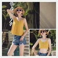 Summer Chiffon Top Sling T shirts Sleeveless Yellow Tshirt Loose Thin Cool Women Tee Tops Charm Single breasted Pullover T shirt