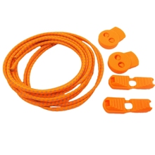 Fashion Boutique 2 pairs of stretch elastic reflective laces without locking system for Running Hiking 110cm Orange
