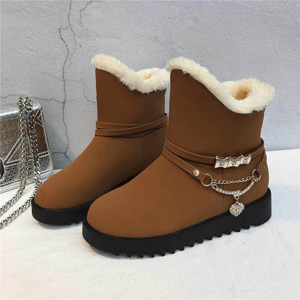 KARINLUNA Yeni Kar Botları 2019 Metal Dekorasyon kaymaz Katı Yuvarlak Ayak Ayakkabı Kadın Rahat kadın Kış sıcak kürk yarım çizmeler