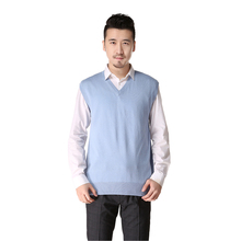 Spring Men's Clothing sweater silk cashmere blended v neck father sleeveless sweater gift vest maglione uomo pull homme -DL0107