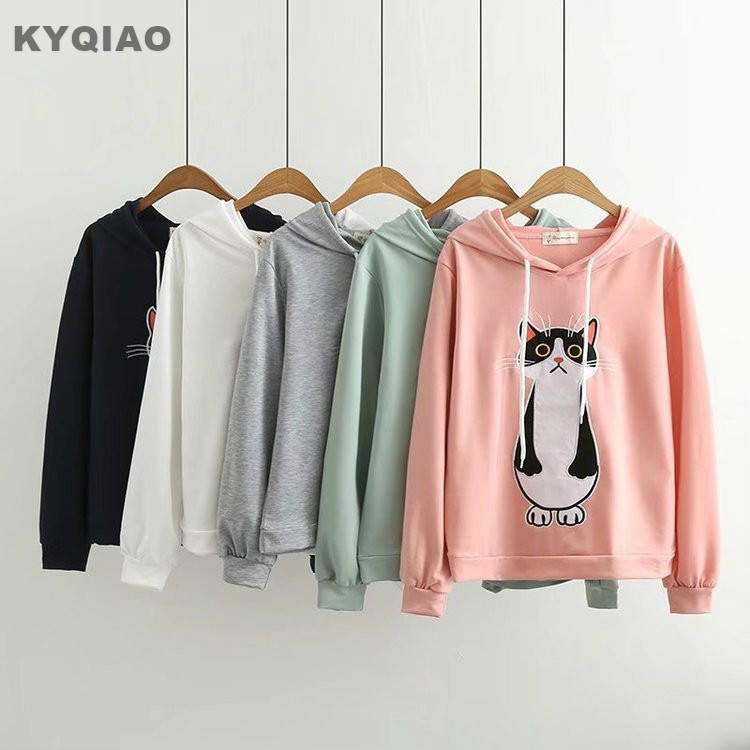 KYQIAO Cute hoodies women pullover mori girls t shirt autumn Japanese style sweet kawaii long sleeve cat embroidery hoodies top