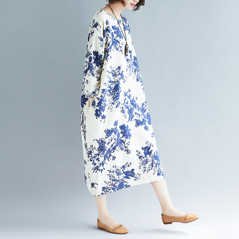 2ca10256791 2019 New Summer Blue And White Porcelain Printed Linen Dress Plus Size Women  Loose Long Dresses Vintage Cotton Dress 4XL 5XL 6XL-in Dresses from Women s  ...