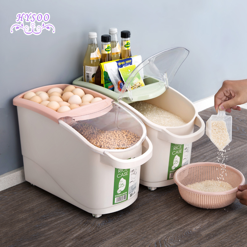 Transparent clamshell bucket 25kg kitchen storage rice box household seal moisture proof pest control plastic rice tank