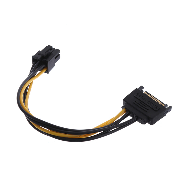 1PC 19cm Useful Graphics Converter Video Card Lead 15 Pin SATA Power to 6 Pin PCI Express Adapter Cable Power Supply Extension