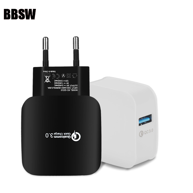 BBSW For Quick Charge 3.0 QC 3.0 USB Turbo Wall Fast Travel Charger For SAMSUNG Note 8 S8 Plus Xiaomi Mi6 Zenfone 3 HTC 10 A9 LG