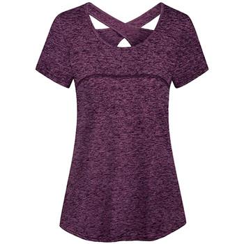 Joga topy kobiety szybkie suche luźne bieganie tshirt siłownia sport oddychająca koszulka damska casual podkoszulki bez rękawów tanie i dobre opinie CHAMSGEND WOMEN Pasuje prawda na wymiar weź swój normalny rozmiar Oddychające t-shirt women sport t-shirt women plus size