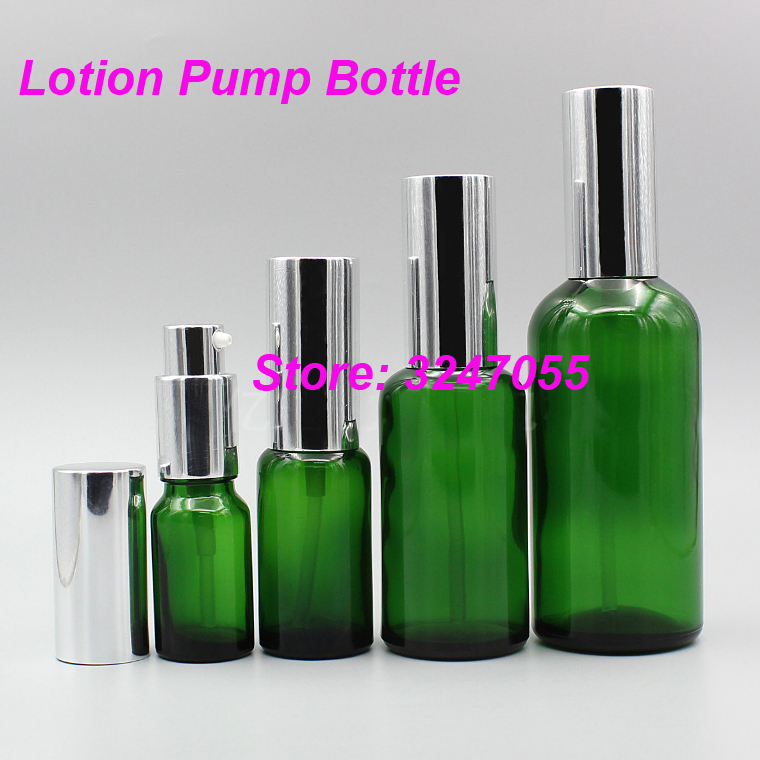 5ml10ml15ml20ml30ml50ml100ml Green Glass Cosmetic Lotion Pump Bottle, Professional Beauty Makeup Emulsion Container/Vials